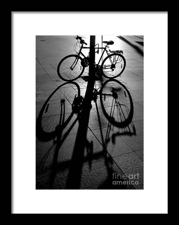 Bicycle Framed Print featuring the photograph Bicycle shadow by Sheila Smart Fine Art Photography