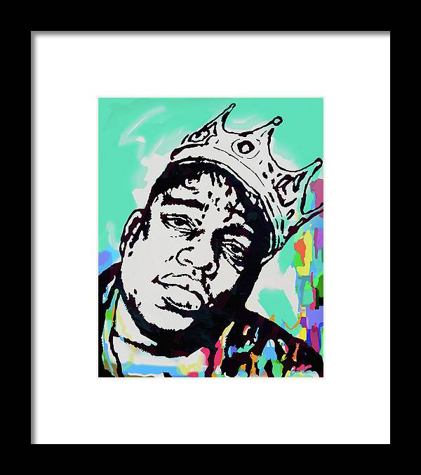 Biggie Smalls Colour Drawing Art Poster - Pop Art Framed Print featuring the mixed media Biggie Smalls - pop art poster 1 by Kim Wang