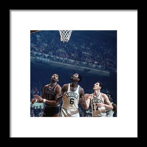 Nba Pro Basketball Framed Print featuring the photograph Bill Russell, John Havlicek, and Wilt Chamberlain by Dick Raphael