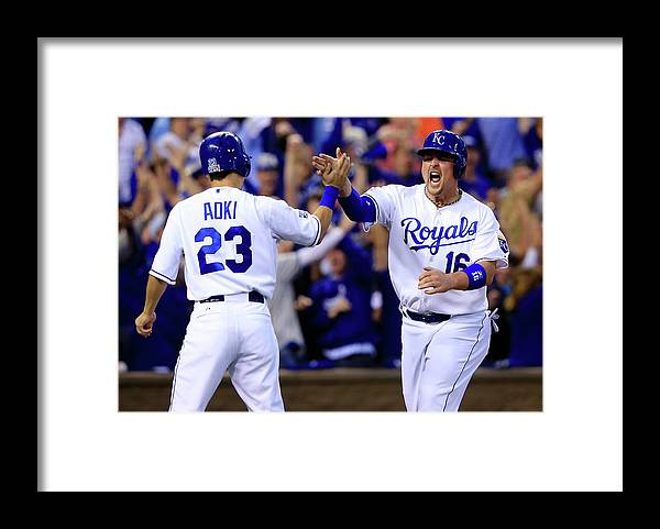 American League Baseball Framed Print featuring the photograph Billy Butler and Alcides Escobar by Jamie Squire