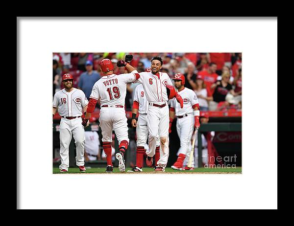 Great American Ball Park Framed Print featuring the photograph Billy Hamilton and Joey Votto by Jamie Sabau