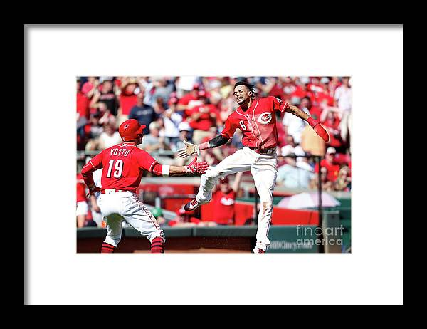 Great American Ball Park Framed Print featuring the photograph Billy Hamilton and Joey Votto by Kirk Irwin