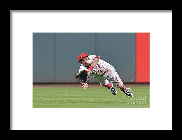 Great American Ball Park Framed Print featuring the photograph Billy Hamilton and Matt Adams by Jamie Sabau