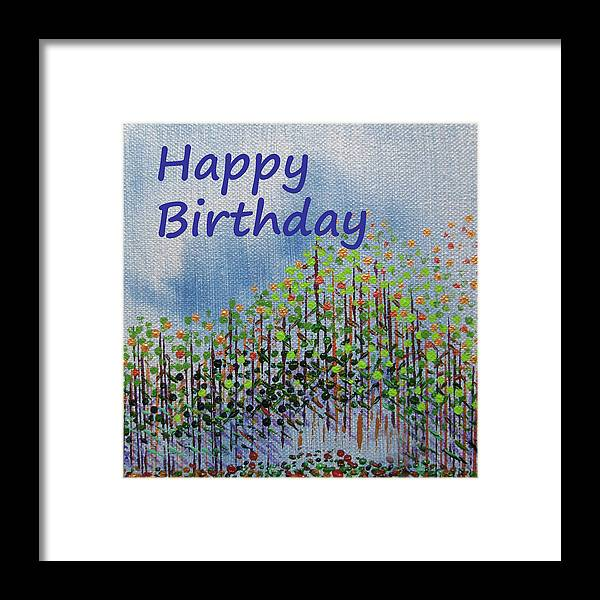 Birthday Framed Print featuring the painting Birthday forest calm by Corinne Carroll
