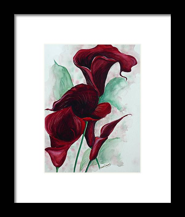 Flower Painting Floral Painting Botanical Painting Tropical Painting Caribbean Painting Calla Painting Red Lily Painting Deep Red Calla Lilies Original Watercolor Painting Framed Print featuring the painting Black Callas by Karin Dawn Kelshall- Best