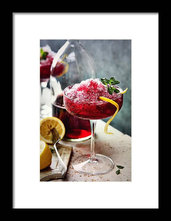 Refreshment Framed Print featuring the photograph Black currant crushed ice and lemon by Heidi Coppock-Beard