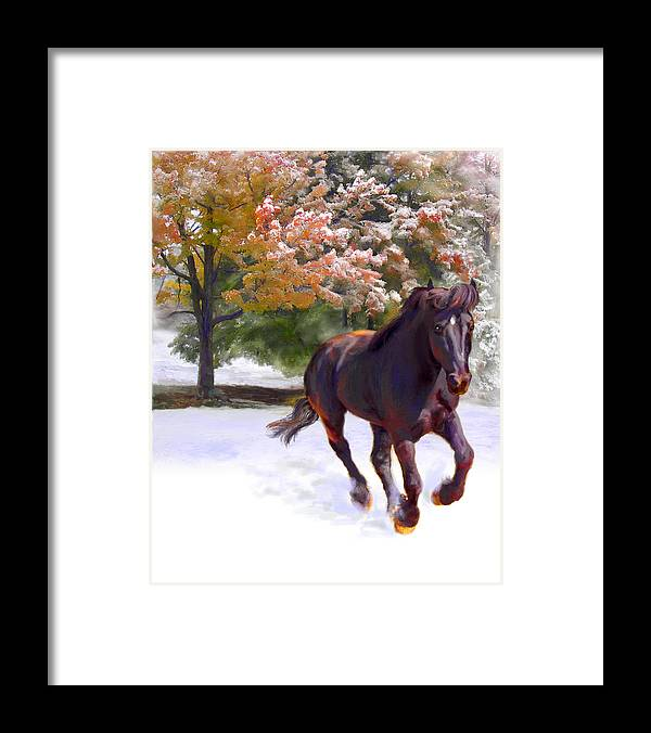 Horse Framed Print featuring the painting Black Stallion In Fall Snow Fantasy Art by Connie Moses