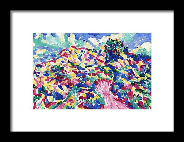 Hill Framed Print featuring the painting Blossom Wildflower Meadow On Rolling Hill Painting, Colorful Spring Blossoming Landscape Art by Vitali Komarov