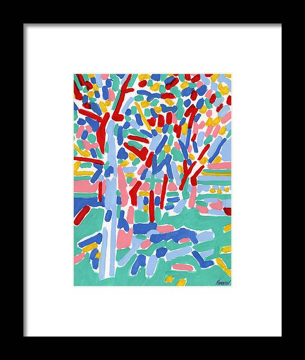 Blossoming Framed Print featuring the painting Blossoming spring garden landscape oil painting botanical rural colorful art by Vitali Komarov