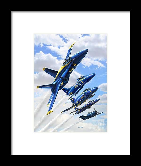 Blue Angels Framed Print featuring the digital art Blue Angels Heritage by Stu Shepherd