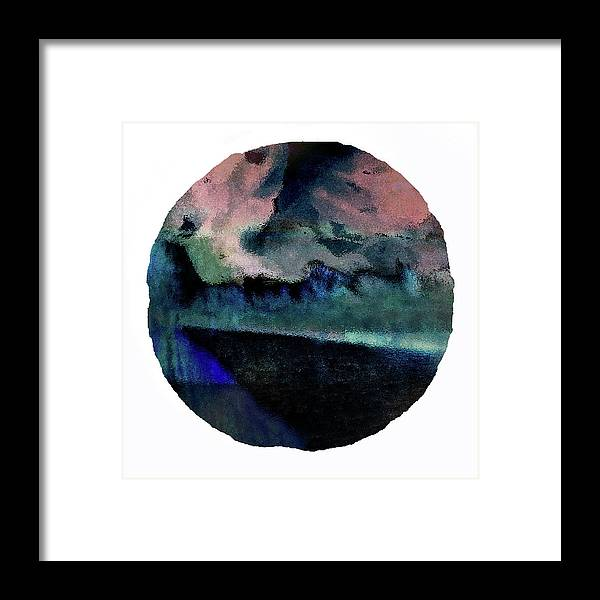 Blue Indigo & Pink Clouds Riverside Landscape Framed Art Print by Onlythemoon