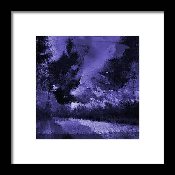 Blue Semi-abstract Waterside Landscape Framed Art Print by Onlythemoon
