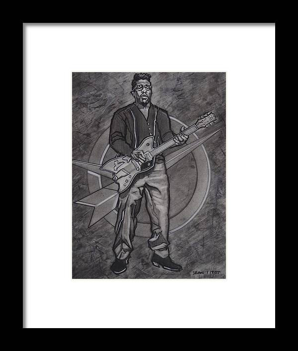 Texas Framed Print featuring the drawing Bo Diddley - Have Guitar Will Travel by Sean Connolly