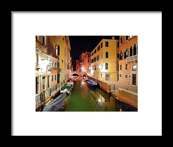Outdoors Framed Print featuring the photograph Boats in canal by Bernd Schunack