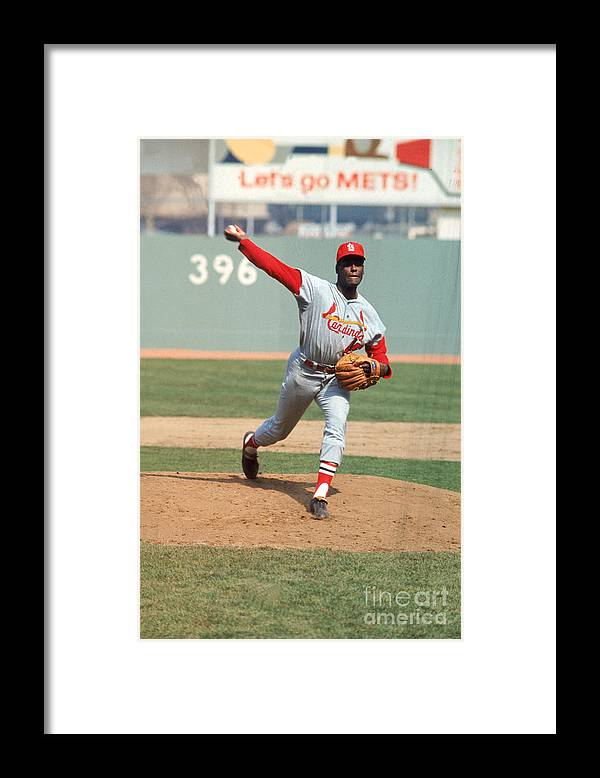 St. Louis Cardinals Framed Print featuring the photograph Bob Gibson by Louis Requena