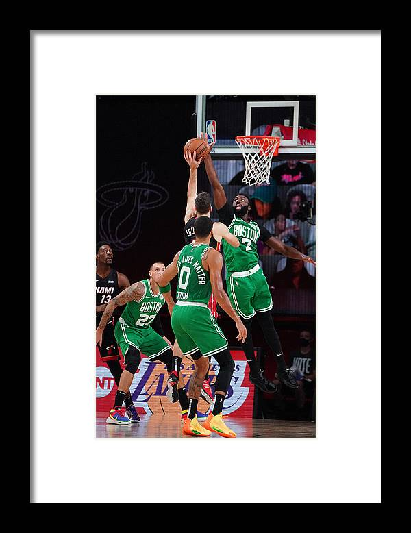 Playoffs Framed Print featuring the photograph Boston Celtics v Miami Heat - Game Three by Jesse D. Garrabrant