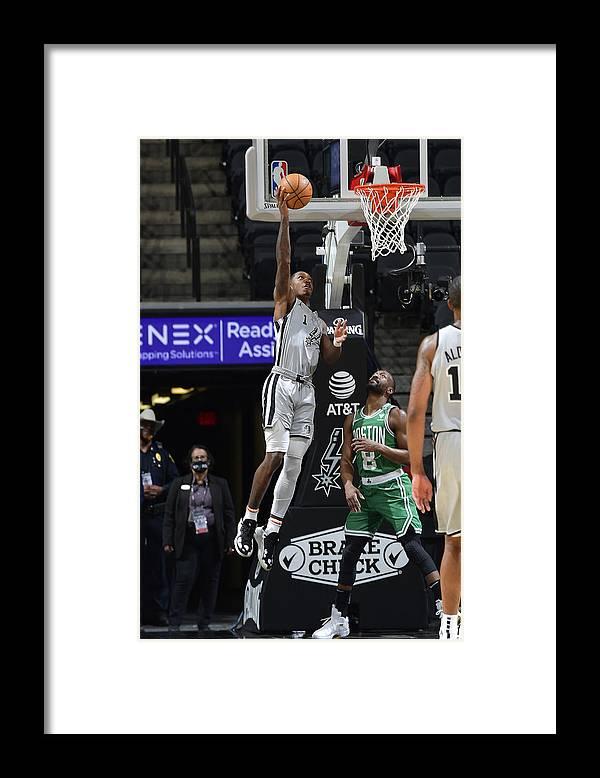 Nba Pro Basketball Framed Print featuring the photograph Boston Celtics v San Antonio Spurs by Logan Riely