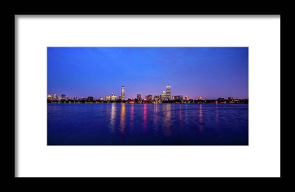 Skyline Framed Print featuring the photograph Boston Skyline Night by Trevor Slauenwhite