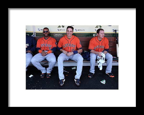 American League Baseball Framed Print featuring the photograph Brad Peacock, Jason Castro, and Jonathan Villar by Brad Mangin