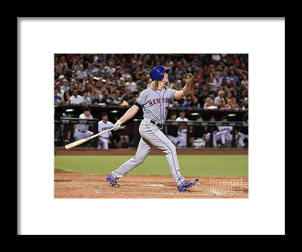 People Framed Print featuring the photograph Braden Shipley and Noah Syndergaard by Norm Hall