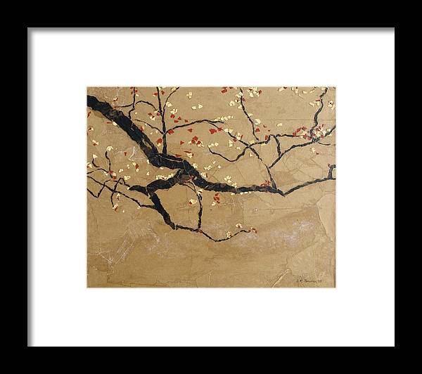Blooming Branch Framed Print featuring the painting Branch by Leah Tomaino