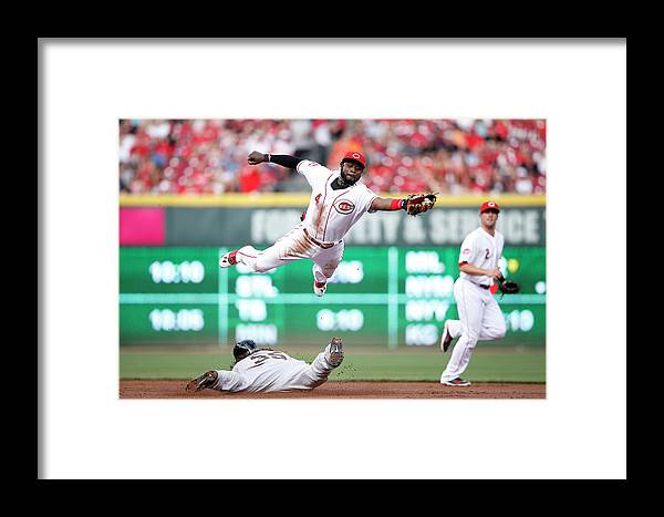 Great American Ball Park Framed Print featuring the photograph Brandon Crawford And Brandon Phillips by Joe Robbins
