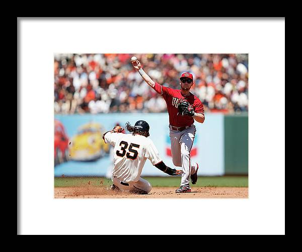 San Francisco Framed Print featuring the photograph Brandon Crawford and Chris Owings by Lachlan Cunningham