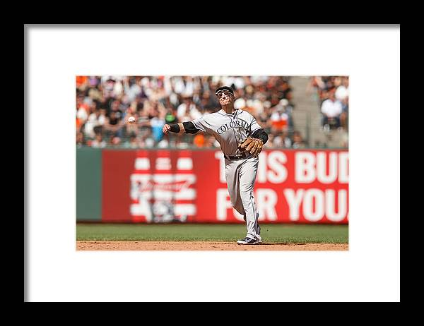 San Francisco Framed Print featuring the photograph Brandon Crawford and Troy Tulowitzki by Lachlan Cunningham