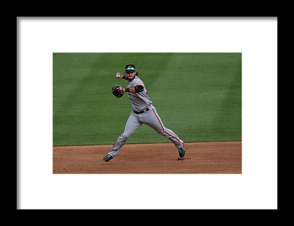 Ball Framed Print featuring the photograph Brandon League by Doug Pensinger