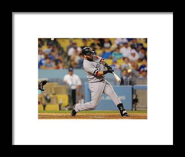 Ninth Inning Framed Print featuring the photograph Brandon League, Mike Napoli, and Dustin Pedroia by Victor Decolongon