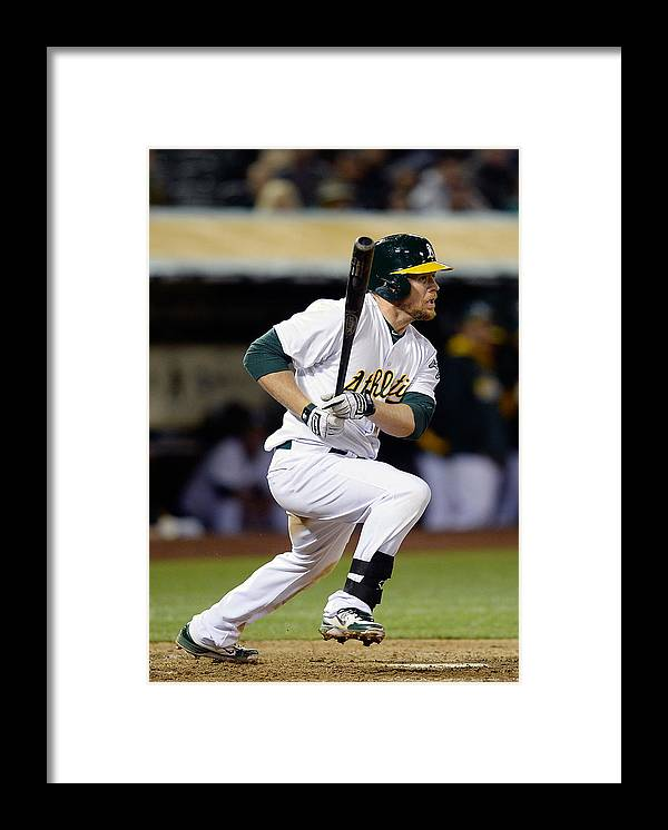 American League Baseball Framed Print featuring the photograph Brandon Moss and Josh Donaldson by Thearon W. Henderson