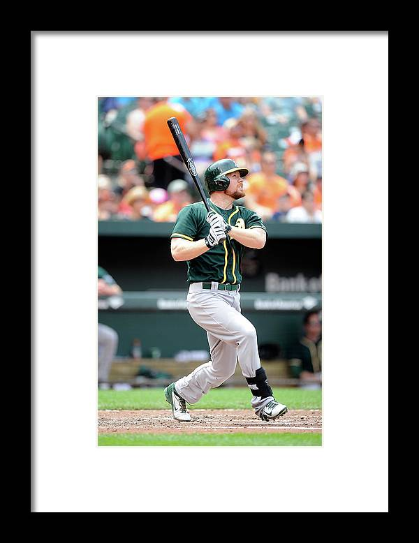 American League Baseball Framed Print featuring the photograph Brandon Moss by Greg Fiume