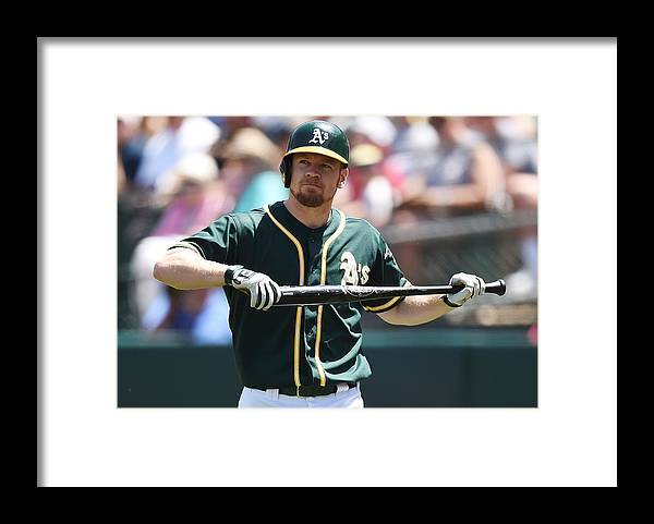 American League Baseball Framed Print featuring the photograph Brandon Moss by Thearon W. Henderson