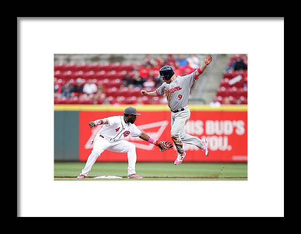 Great American Ball Park Framed Print featuring the photograph Brandon Phillips And Aaron Hill by Joe Robbins