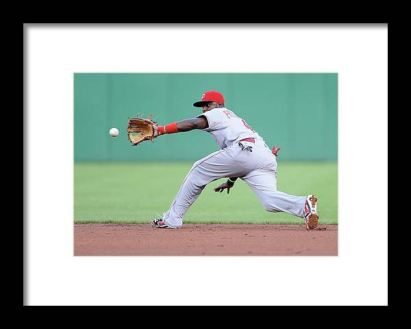 Second Inning Framed Print featuring the photograph Brandon Phillips and Ike Davis by Joe Sargent