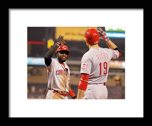 People Framed Print featuring the photograph Brandon Phillips and Joey Votto by Justin K. Aller