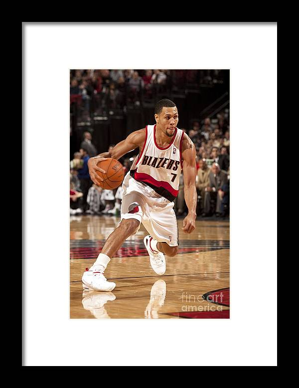 Nba Pro Basketball Framed Print featuring the photograph Brandon Roy by Cameron Browne