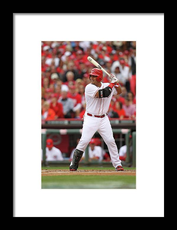 Great American Ball Park Framed Print featuring the photograph Brayan Pena by John Grieshop