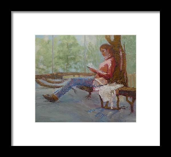 Girl Framed Print featuring the painting Break at Museum II by Irena Jablonski