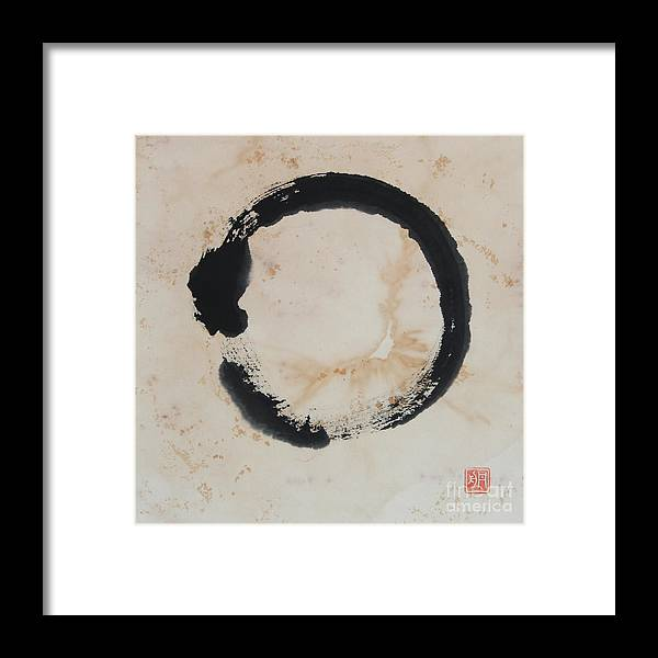 Zen Circle Framed Print featuring the painting Breathing Enso On Gold by Nadja Van Ghelue