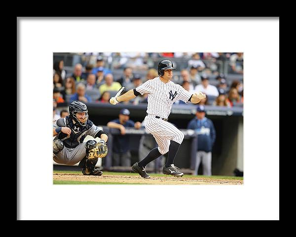 American League Baseball Framed Print featuring the photograph Brett Gardner by Al Bello