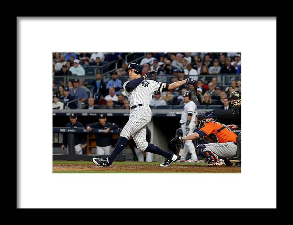 Championship Framed Print featuring the photograph Brett Gardner and Aaron Judge by Al Bello