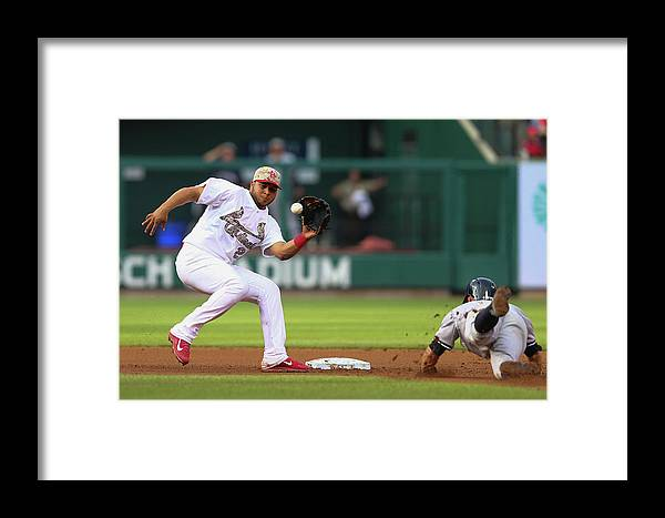 St. Louis Cardinals Framed Print featuring the photograph Brett Gardner And Jhonny Peralta by Dilip Vishwanat