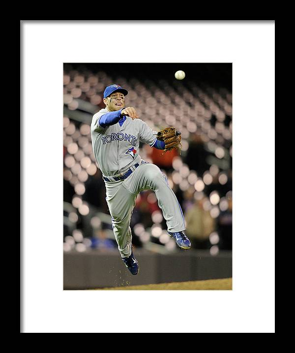 Game Two Framed Print featuring the photograph Brett Lawrie by Brian Blanco