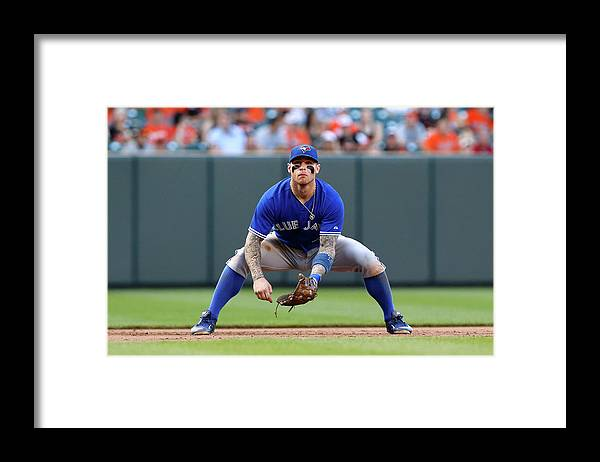 American League Baseball Framed Print featuring the photograph Brett Lawrie by Jonathan Ernst