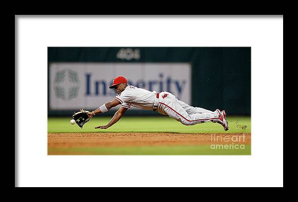 Sports Ball Framed Print featuring the photograph Brett Myers and Jimmy Rollins by Bob Levey
