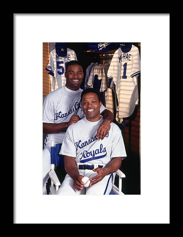 Locker Framed Print featuring the photograph Brian Mcrae and Hal Mcrae by Ronald C. Modra/sports Imagery