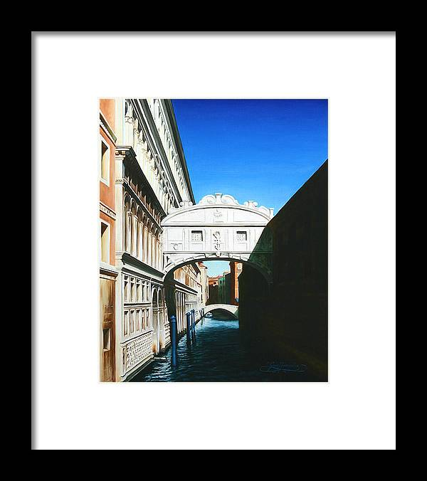 Bridge Of Sighs Framed Print featuring the painting Bridge Of Sighs Venice Italy by Gary Hernandez