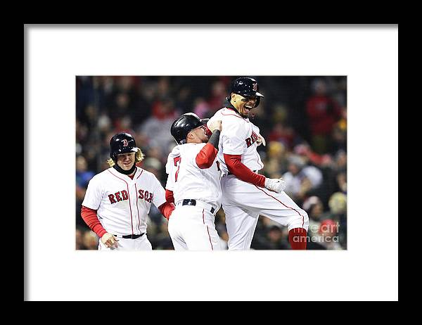 Three Quarter Length Framed Print featuring the photograph Brock Holt and Mookie Betts by Maddie Meyer