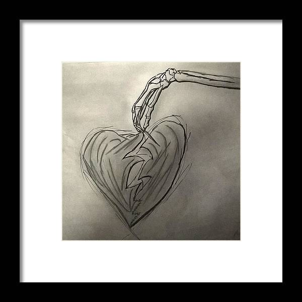 Drawing Framed Print featuring the photograph Broken Heart Mended by Ariana Torralba